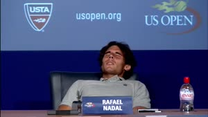 Rafael Nadal Cramps Up During Press Conference
