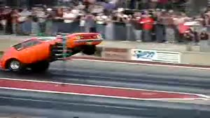 Drag Race Car Does A Wheelie