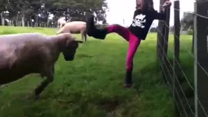 Mean Girl Get's Attacked By Angry Goat