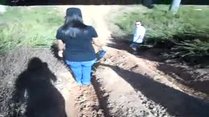 Hysterical Woman Tries To Get Down Hill