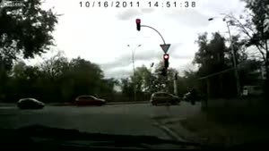 Confused Driver Running A Red Light