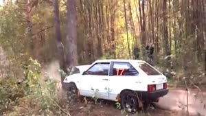 Rally Car Crashes Into Tree