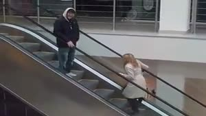 Woman Doesn't Understand The Escalator