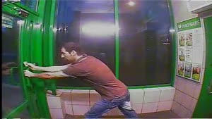 Crazy Guy Trapped In ATM