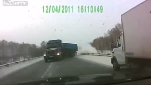 Sliding Truck Barely Misses Car
