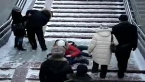 Guy Records Icy Stairs
