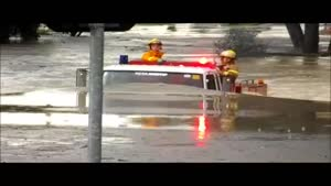 Fire Truck Drives Through Water