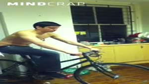 Riding Bicycle In The Kitchen