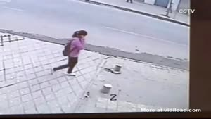 Chinese Girl Falls Through The Sidewalk