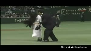 Scary Girl Enters Japanese Baseball Field