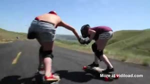 Two Girls Longboarding At Over 40mph