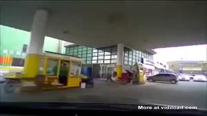 Frustrated Driver Enters Gas Station