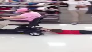 Granny Drags Kid Trough Walmart