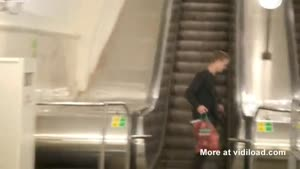 Drunk Guy Can't Handle Escalator