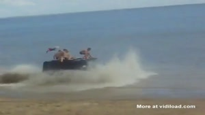 Drunk Russians On A Hummer At The Beach