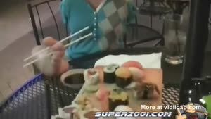 Girl Eating Sushi With Her Feet