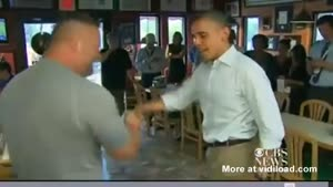 Excited Pizza Place Owner Lifts Up Barack Obama