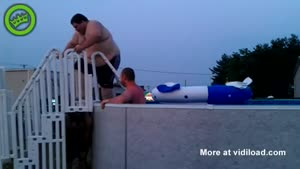 Fat Guy Has Trouble Getting Out Of Jacuzzi