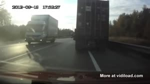 Truck Driver Escapes Through His Windshield