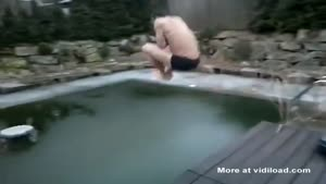 German Show Off Jumps Into Frozen Pool