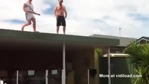 Roof Jump In The Pool Goes Differtent Than Planned