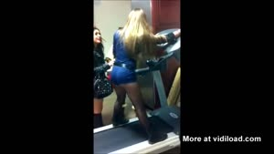 Hot Blonde Falls On Moving Treadmill