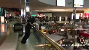 Crazy Guy Does Epic Jump In The Mall