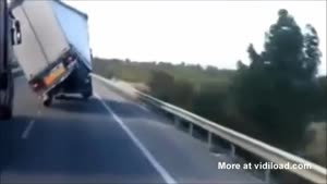 Truck Battles Heavy Winds