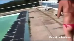 Douchebag Falls Into Pool After Pushing Girl