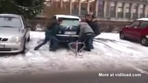 Trying To Free The Car By Lifting It