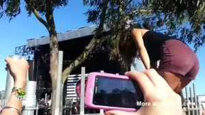 Girl Wedgies Herself Jumping A Fence