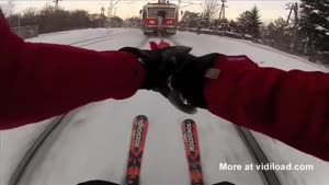 Skiing Behind A Train