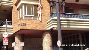 Cheating Wife's Lover Escapes From The Window