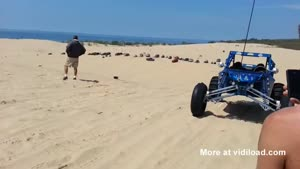 Truck Jumps Dune And Crashes
