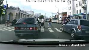 Frustrated Pedestrian Jumps On The Hood