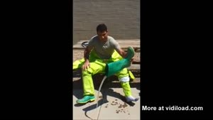 Firefighter Takes Off Protective Suit