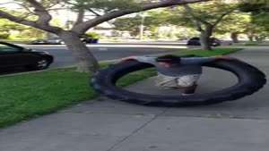 Hula Hooping With A 100lb Tire