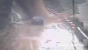 Car Ends Up Under Landslide