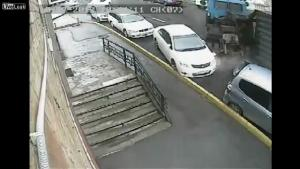Truck Crushes Car