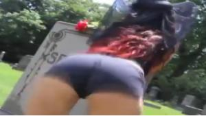 Drunk Woman Twerks At Cemetery