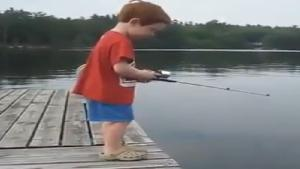Kid Catches Fish Immediately