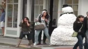 Scary Snowman Scares People Shitless