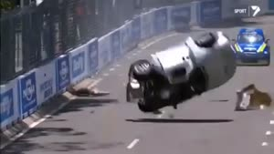 Race Driver Crashes And Flips His Car