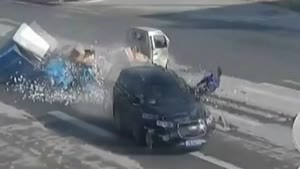 Asian Man Survives Insane Crash At Intersection