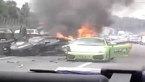Big Lamborghini Crash