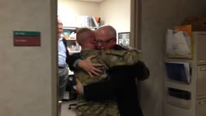 Soldier Surprises His Dad