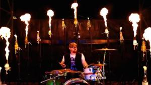 Drummer Playing With Fire