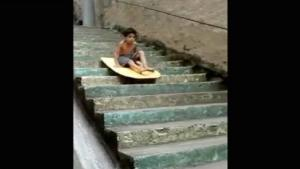 Kid Stair Surfing Gone Wrong