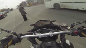Biker Helps Elderly Man Cross The Road