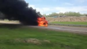 Flaming Bus Goes After Fire Truck